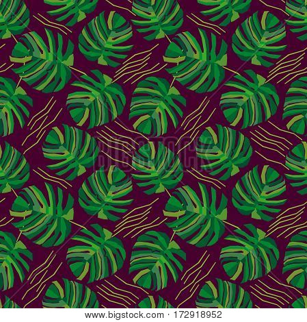 Seamless vector pattern with exotic plants. Ethnic textile collection.