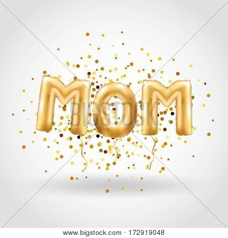 Mother letter gold balloons on red background. Happy mother day gold balloons. Balloons design for greeting card, flyer poster, sign, banner, web header. 3D Gold letter for mothers day.