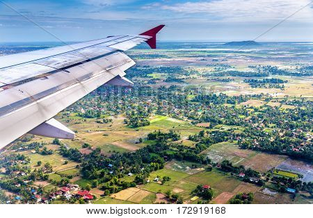 View from an airplane landing at Siem Reap airport - Cambodia
