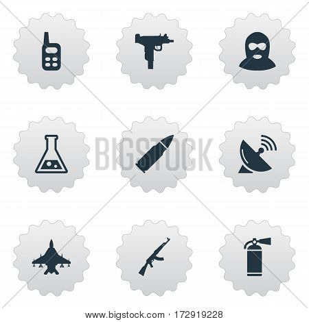 Set Of 9 Simple War Icons. Can Be Found Such Elements As Extinguisher, Firearm, Kalashnikov And Other.