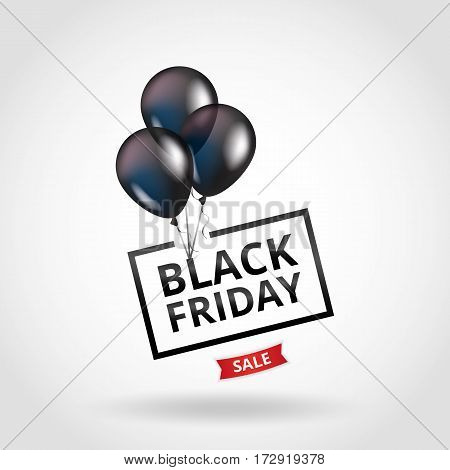 Balloons Black friday. Black balloon sparkles sale background. Black friday sale logo for banner, web, flyer, header design. Christmas and new year sale. Black transparent balloon on background