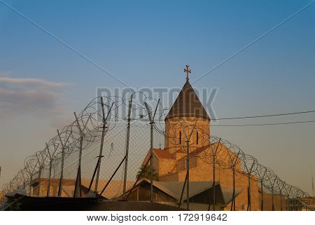 Armenian church behind barbed wire Baghdad Iraq