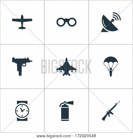 Set Of 9 Simple Terror Icons. Can Be Found Such Elements As Paratrooper, Sky Force, Field Glasses And Other.