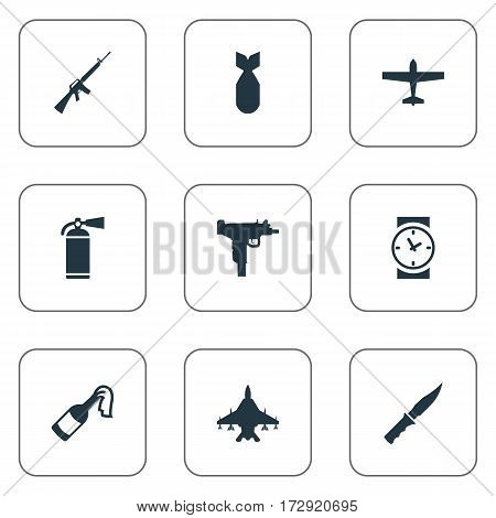 Set Of 9 Simple War Icons. Can Be Found Such Elements As Sky Force, Extinguisher, Cold Weapon And Other.