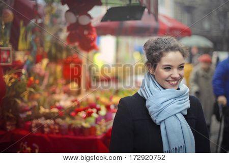 Girl at the flower market