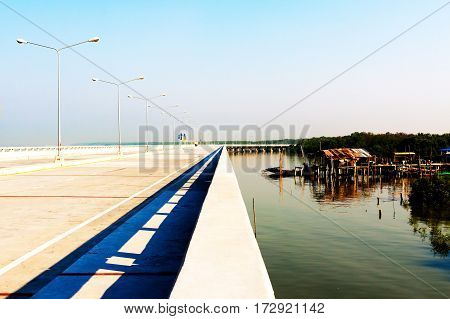 new travel place concrete road in Chonburi Thailand