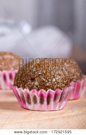Selective Focus On Chocolate Cupcake With Coconut With Shallow F
