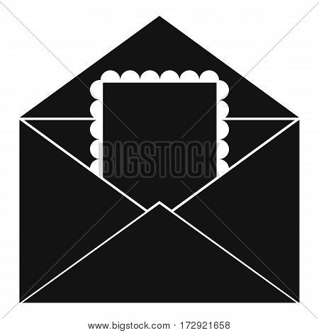 Envelope with card icon. Simple illustration of envelope with card vector icon for web