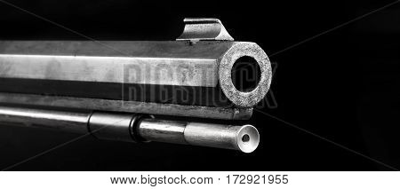 Front end of old 50 caliber black powder riflein black and white with room for your type.