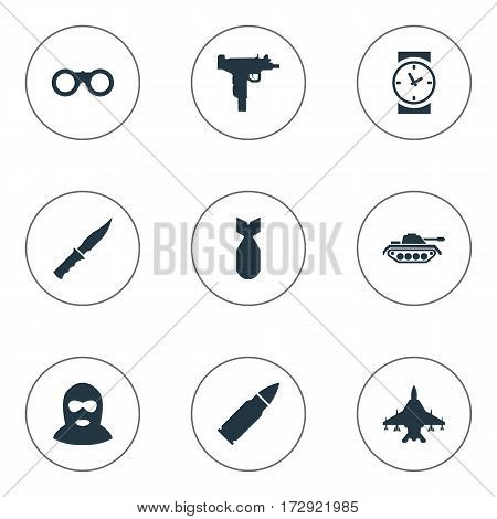 Set Of 9 Simple War Icons. Can Be Found Such Elements As Heavy Weapon, Field Glasses, Watch And Other.