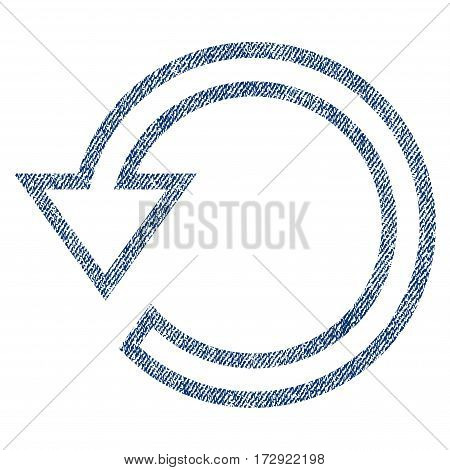Rotate vector textured icon for overlay watermark stamps. Blue jeans fabric vectorized texture. Symbol with unclean design. Blue ink rubber seal stamp with fiber textile structure.