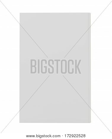 Blank vertical book cover template front side standing. Perspective view. 3d rendering isolated on white background