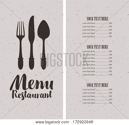 vector restaurant and cafe menu template with cutlery and price