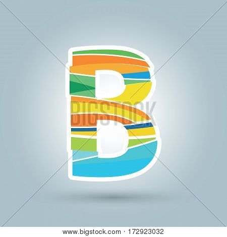 Vector abstract B geometric letter logo template. Overlapping transparent wave elements composition