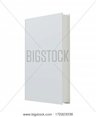 Blank vertical book cover mockcup template standing. 3d rendering. Isolated on white background
