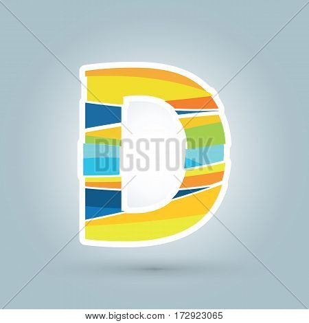 Vector abstract D geometric letter logo template. Overlapping transparent wave elements composition