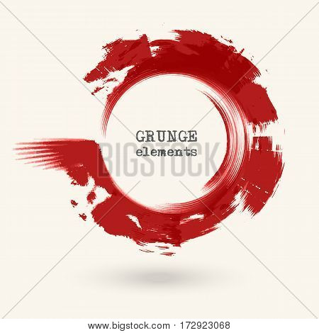 Red ink round stroke on white background. Vector illustration of grunge circle stains. Enso calligraphy element japanese or chinese style.
