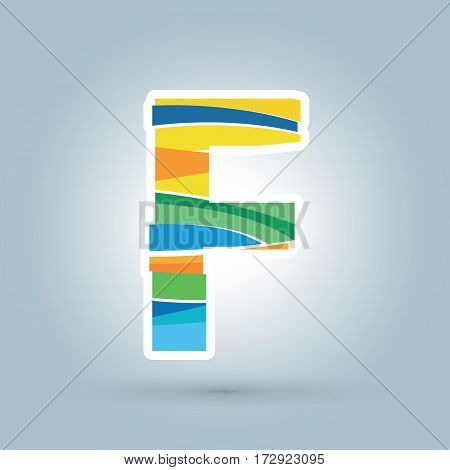 Vector abstract F geometric letter logo template. Overlapping transparent wave elements composition