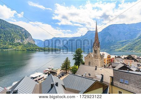 Hallstatt village on Hallstatter See in Austrian alps Austria.