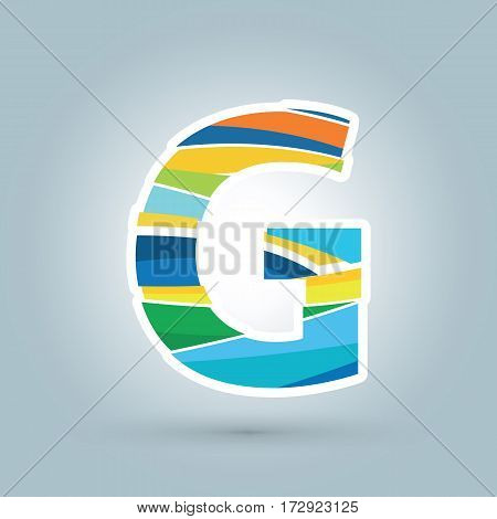 Vector abstract G geometric letter logo template. Overlapping transparent wave elements composition