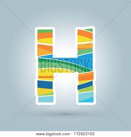 Vector abstract H geometric letter logo template. Overlapping transparent wave elements composition