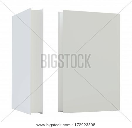 Blank vertical book cover mockcup template standing. 3d rendering isolated on white background