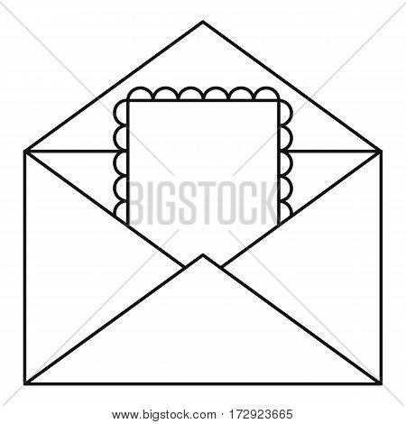 Greeting card in envelope icon. Outline illustration of greeting card in envelope vector icon for web
