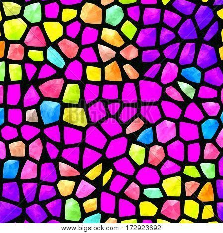 Bright neon shocking colorful pink yellow mosaic seamless texture design