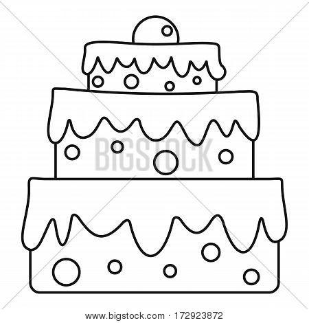 Celebratory cake icon. Outline illustration of celebratory cake vector icon for web
