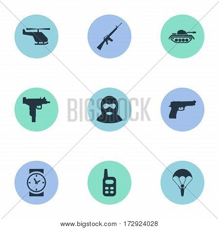 Set Of 9 Simple Battle Icons. Can Be Found Such Elements As Rifle Gun, Terrorist, Pistol And Other.