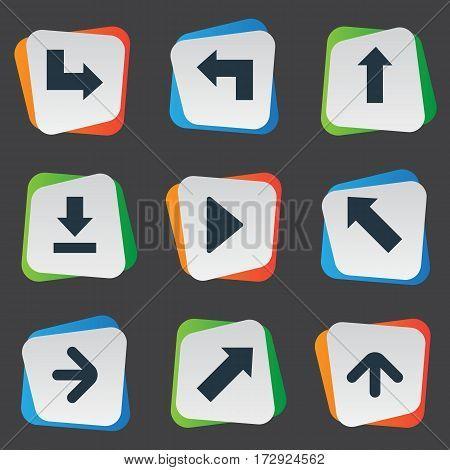 Set Of 9 Simple Indicator Icons. Can Be Found Such Elements As Pointer , Right Landmark, Indicator.