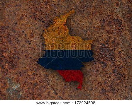 Map And Flag Of Colombia On Rusty Metal