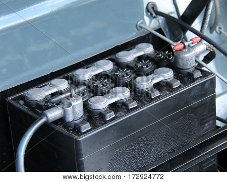 A Car Engine Battery in a Vintage Vehicle.