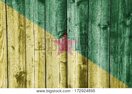 Flag Of French Guiana On Weathered Wood
