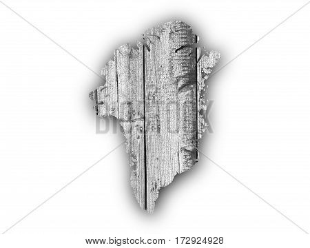 Map Of Greenland On Weathered Wood
