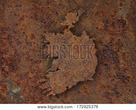 Map Of Ireland On Rusty Metal