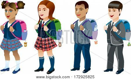 Four different student, a boy and a girl