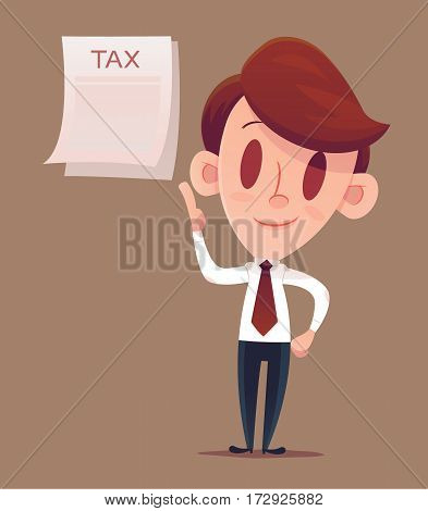 Vector illustration of tax refund. Business man or manager holds in his hand a tax declaration