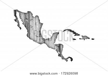 Map Of Middle America On Weathered Wood