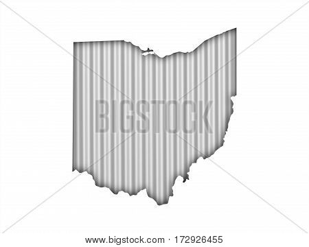Map Of Ohio On Corrugated Iron