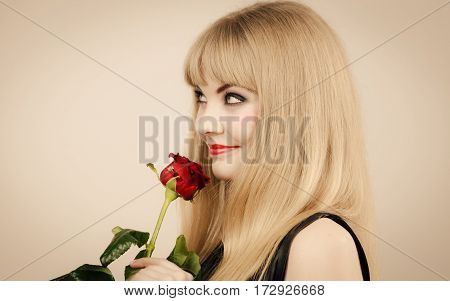 Glamour and fashion. Gorgeous lovely charming young lady portrait. Smiling attractive blonde stylish woman with strong make up.
