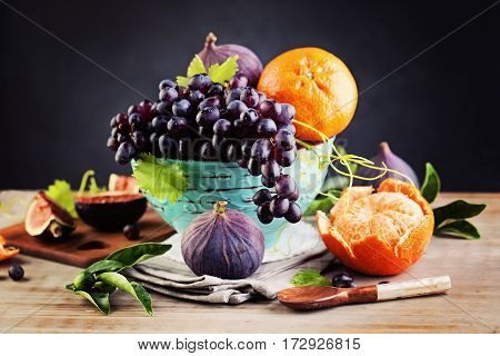 Ripe Organic Fruit on Vintage Background. Healthy Food