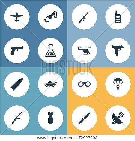 Set Of 16 Simple War Icons. Can Be Found Such Elements As Cold Weapon, Paratrooper, Helicopter And Other.