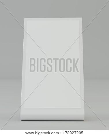 Plastic holder. Brochure holding. Empty paper template. 3d rendering