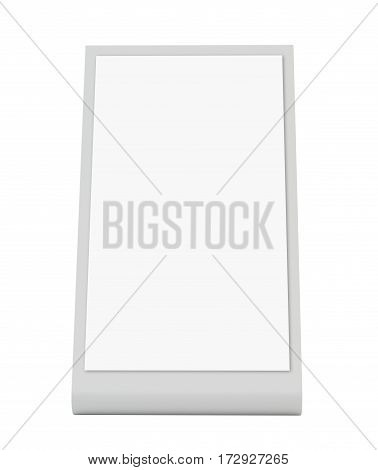 Plastic holder. Brochure holding. Empty paper template. 3d rendering isolated on white background