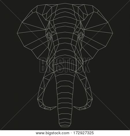 Elephant head geometric lines silhouette isolated on black background vintage design element