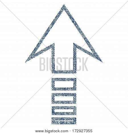 Send Up vector textured icon for overlay watermark stamps. Blue jeans fabric vectorized texture. Symbol with dust design. Blue ink rubber seal stamp with fiber textile structure.