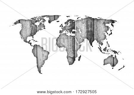Map Of The World On Weathered Wood