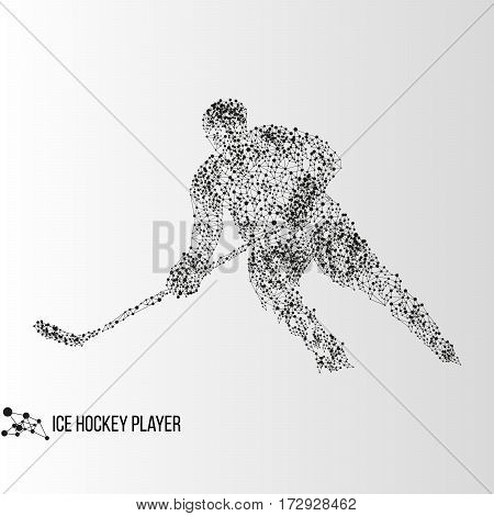 Abstract geometric molecule polygonal ice hockey player silhouette isolated on gradient background