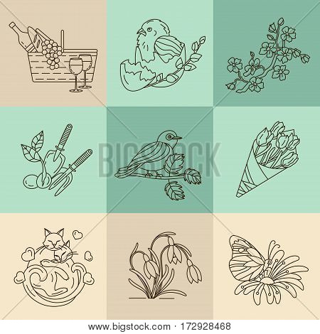 Spring thin line vector icons. Springtime logo for your design.